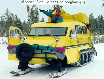 Dan in a bombadier, Yellowstone, Winter 1999]